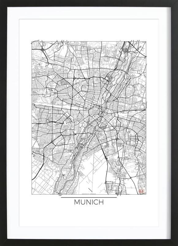 Munich Minimal affiche sous cadre en bois