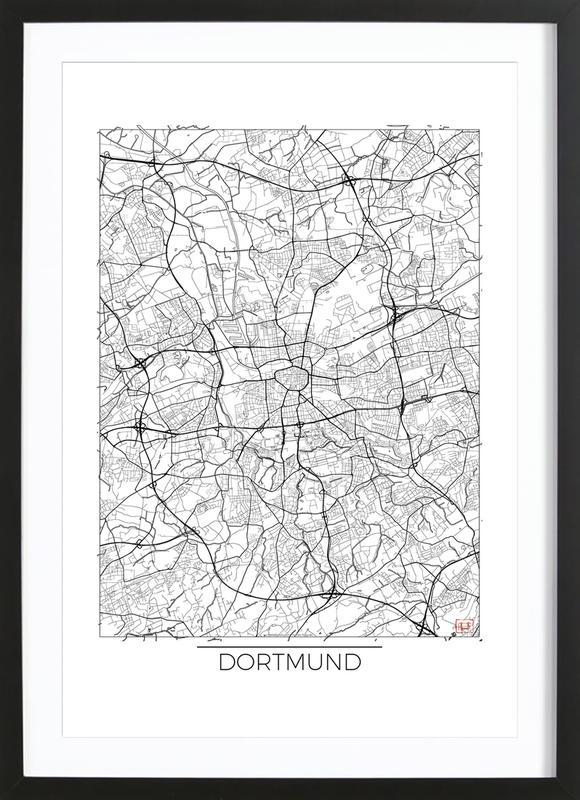 Dortmund Minimal affiche sous cadre en bois