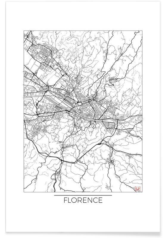 Florence - Carte minimaliste affiche