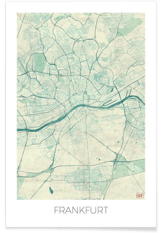 Francfort, Cartes de villes, Francfort - Carte vintage affiche