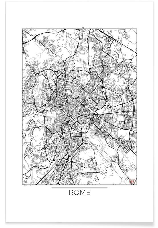 Rome, Cartes de villes, Rome - Carte minimaliste affiche