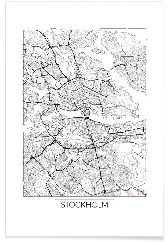 City Maps, Stockholm, Stockholm Minimal Map Poster