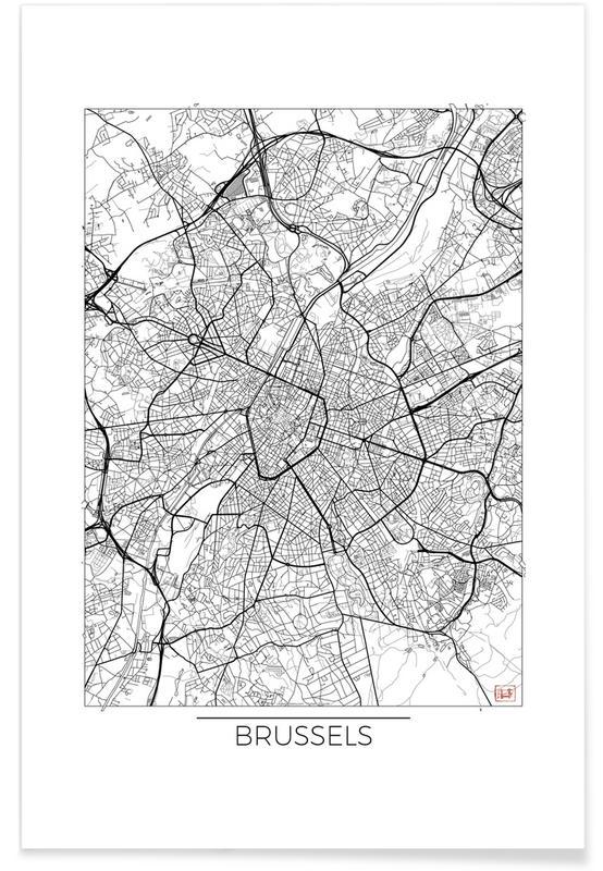 Stadskaarten, Brussel - minimalistische stadskaart poster