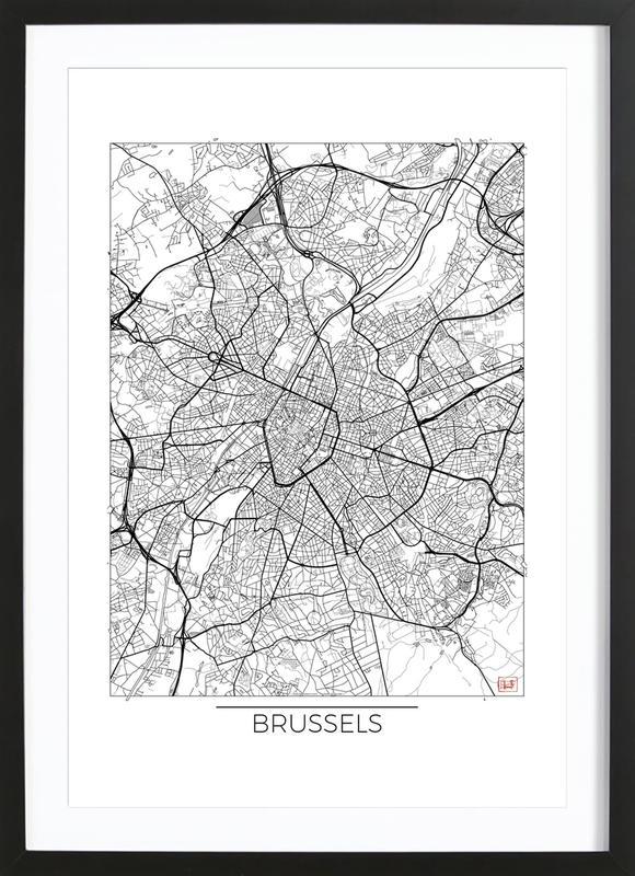Brussels Minimal affiche sous cadre en bois