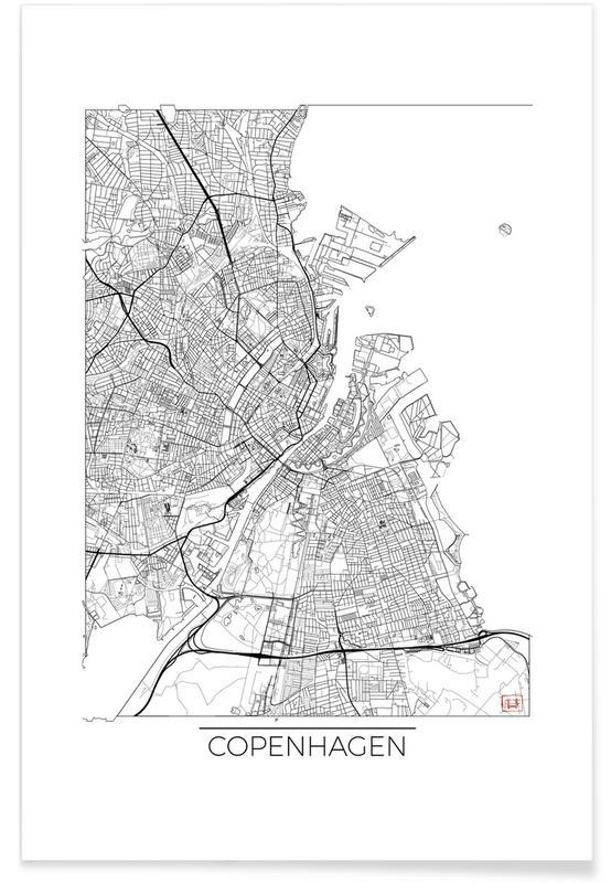 Kopenhagen, Stadskaarten, Kopenhagen - minimalistische stadskaart poster