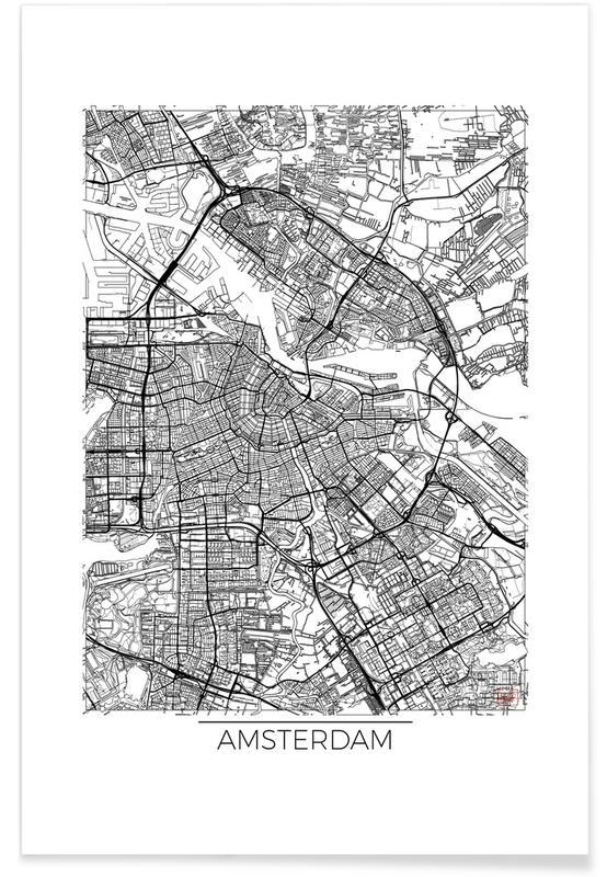 Amsterdam - minimalistische stadskaart poster