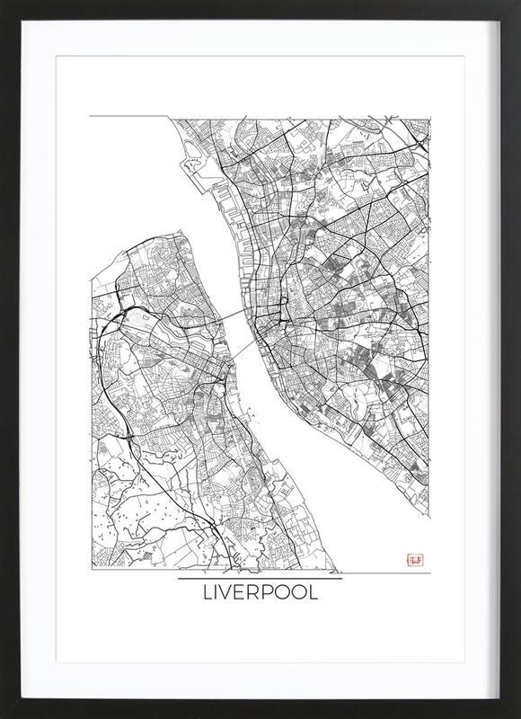 Liverpool Minimal affiche sous cadre en bois