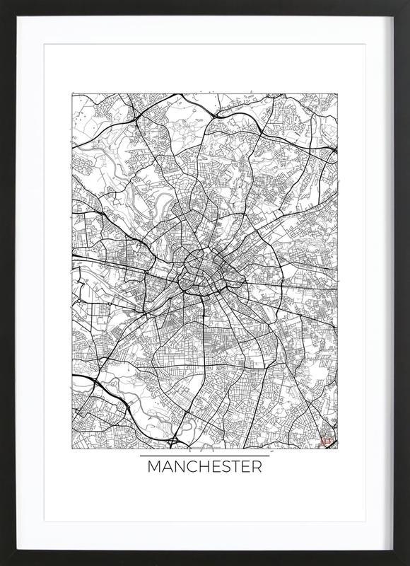 Manchester Minimal -Bild mit Holzrahmen