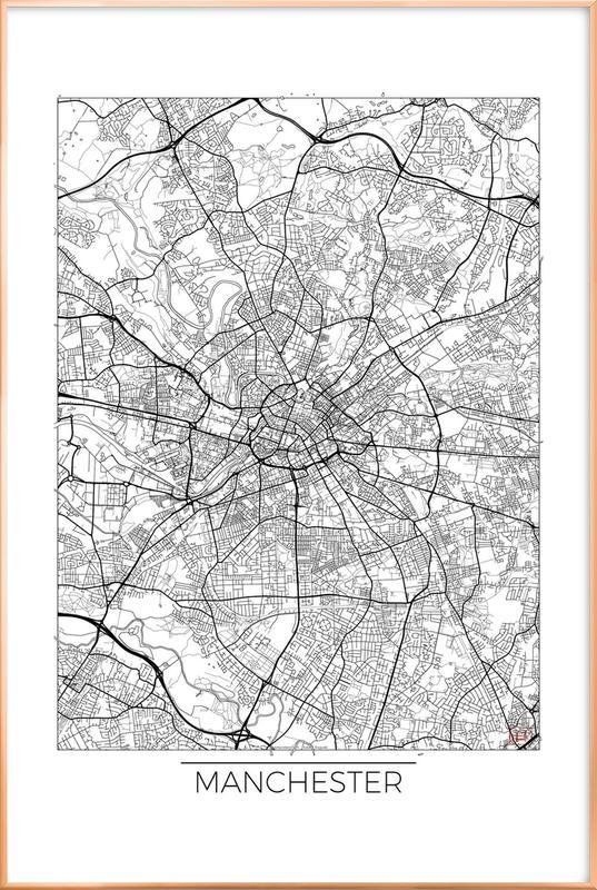 Manchester Minimal -Poster im Alurahmen