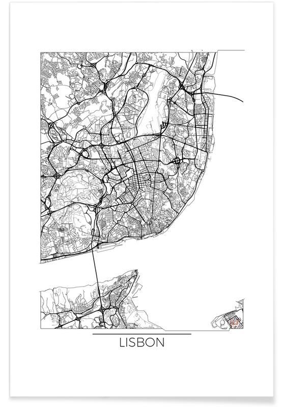 Bykort, Lissabon, Lisbon Minimal Map Plakat