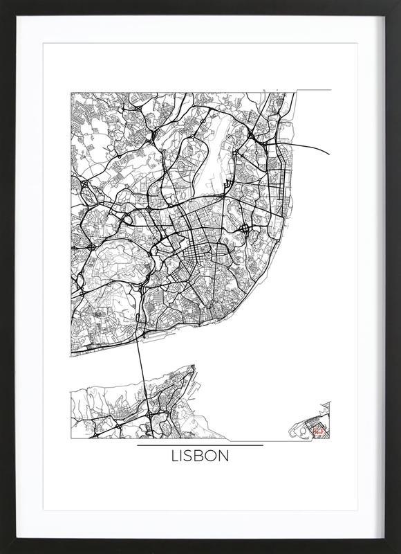 Lisbon Minimal affiche sous cadre en bois