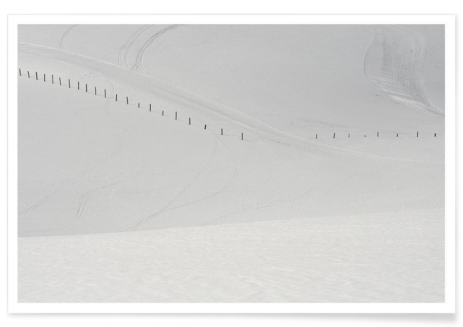 Sort & hvidt, Bjerge, Lines in the Snow Plakat