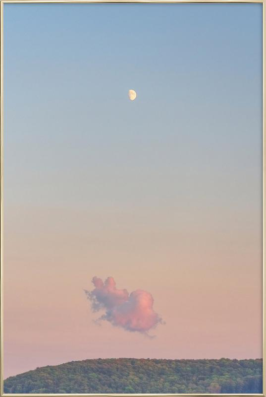 Forest Cloud Moon -Poster im Alurahmen