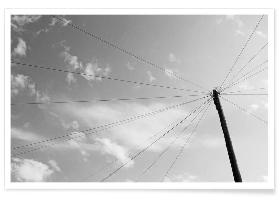 Noir & blanc, Ciels & nuages, Power pole affiche