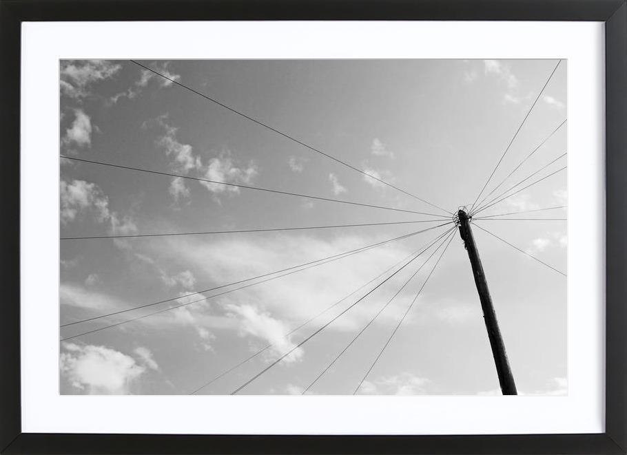 Power pole -Bild mit Holzrahmen