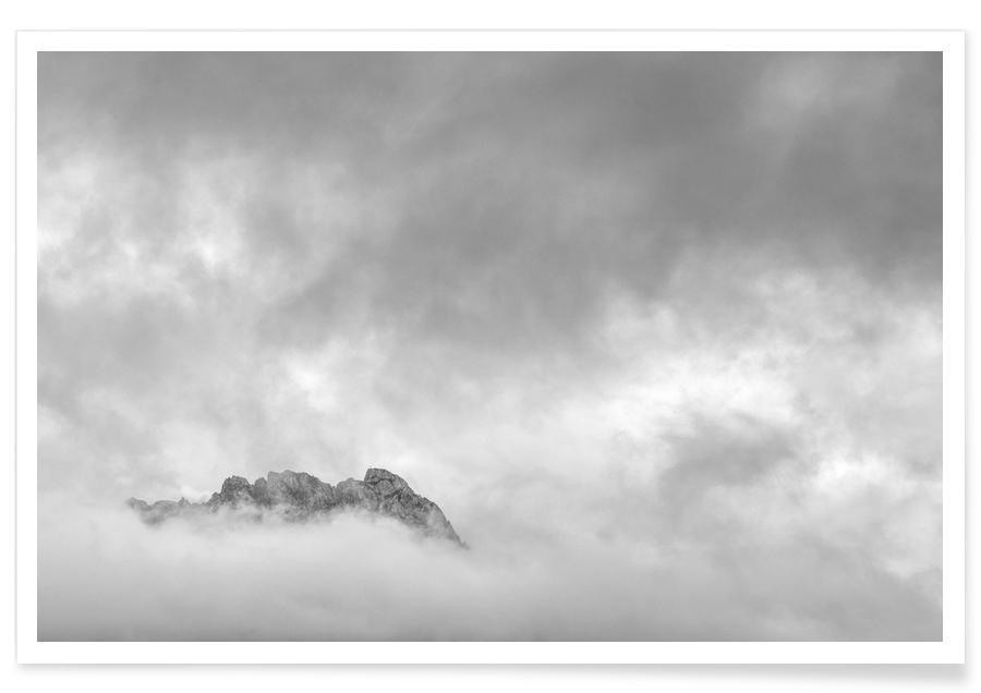 Berge, Himmel & Wolken, Schwarz & Weiß, Just A Glimpse 1 -Poster