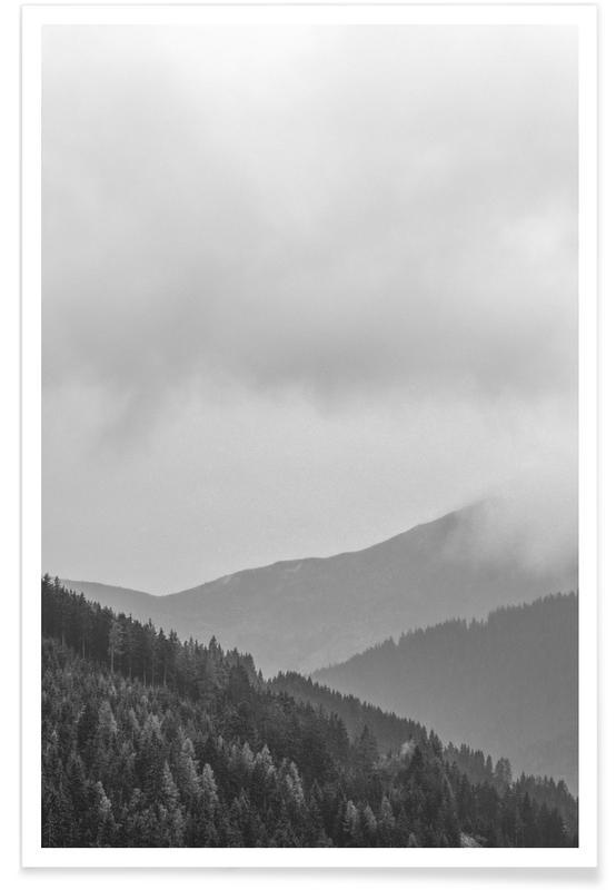 Montagnes, Ciels & nuages, Noir & blanc, Layered Mountains affiche