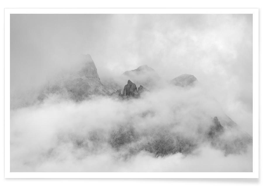 Bergen, Lucht en wolken, Zwart en wit, Just A Glimpse 3 poster