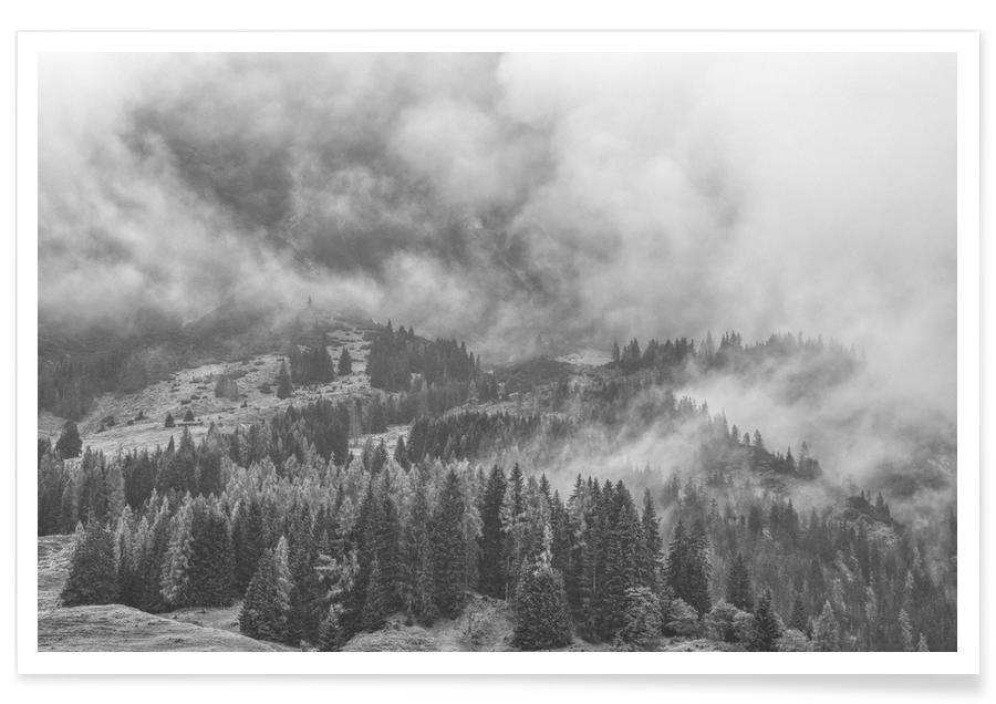 Berge, Himmel & Wolken, Schwarz & Weiß, Clouds Forming 2 -Poster