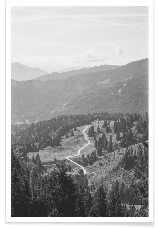 Skies & Clouds, Black & White, Forests, The Path Ahead Poster