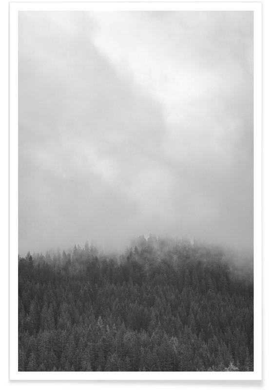 Skies & Clouds, Black & White, Forests, Clouded Forest Poster