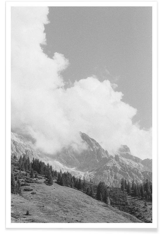 Bjerge, Himmel & skyer, Sort & hvidt, Clouds Forming 3 Plakat