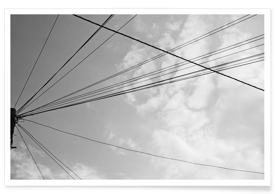 Noir & blanc, Ciels & nuages, Power pole 2 affiche