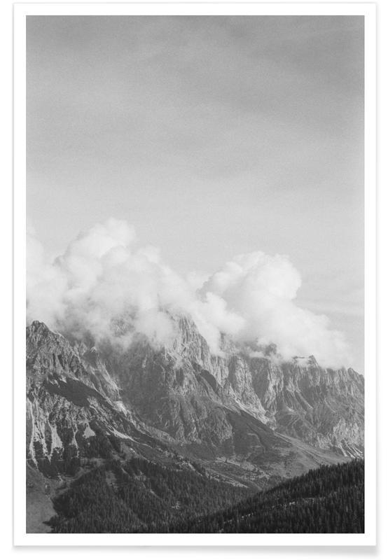 Berge, Himmel & Wolken, Schwarz & Weiß, Clouds Forming 4 -Poster