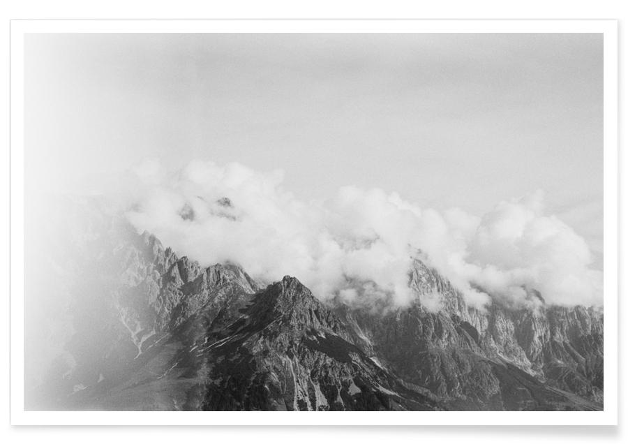 Skies & Clouds, Black & White, Forests, Light Leak 2 Poster