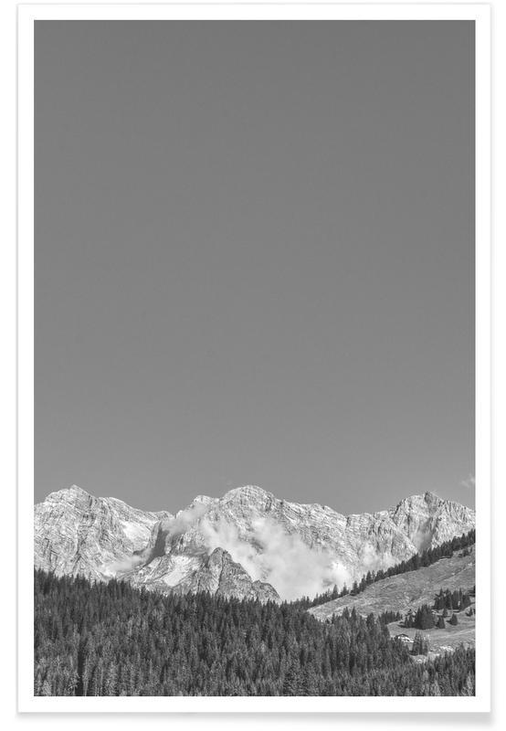 Bergen, Lucht en wolken, Zwart en wit, Sky Above The Mountains poster