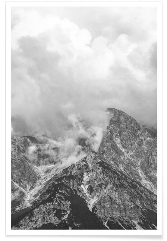 Berge, Himmel & Wolken, Schwarz & Weiß, Clouds Forming 1 -Poster