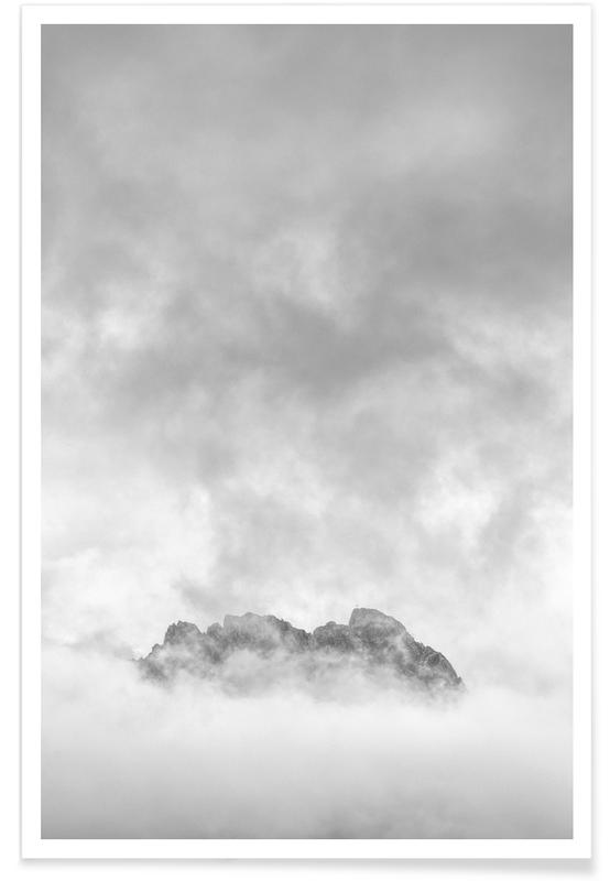Mountains, Skies & Clouds, Black & White, Just A Glimpse 2 Poster