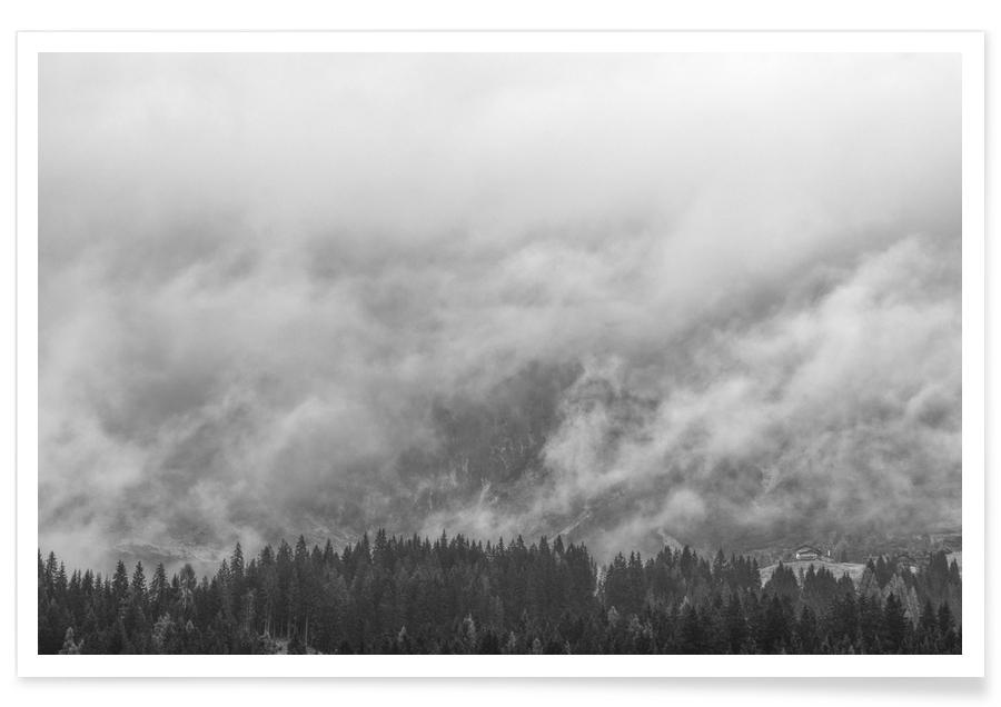 Skies & Clouds, Black & White, Alp With A View Poster