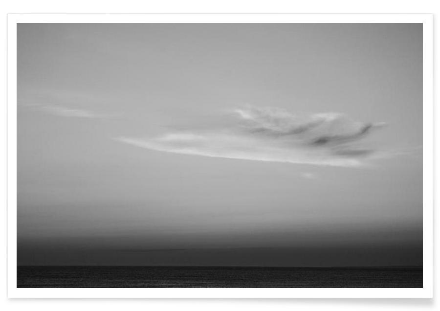 Noir & blanc, Océans, mers & lacs, Ciels & nuages, Jersey shore affiche