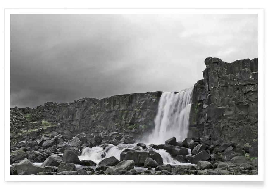 Noir & blanc, Montagnes, Öxarárfoss affiche