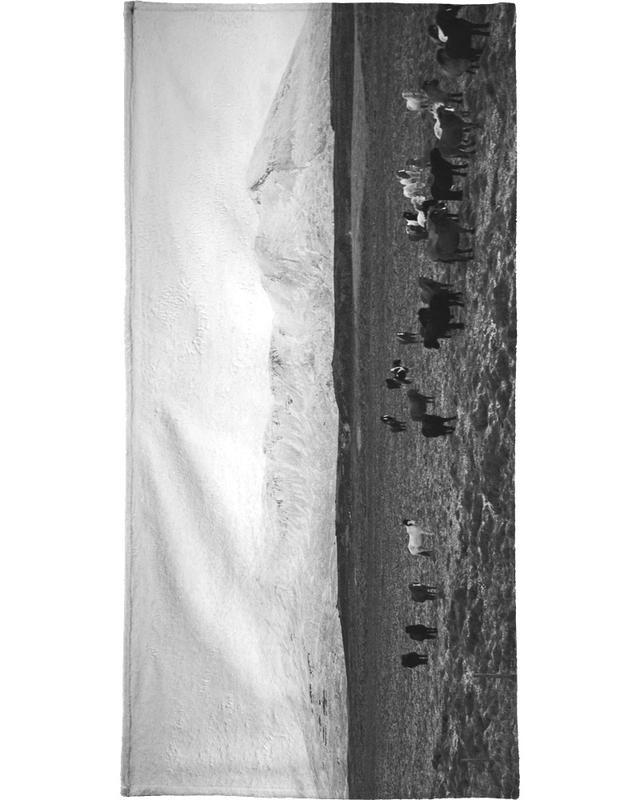 Montagnes, Noir & blanc, Chevaux, The herd serviette de bain