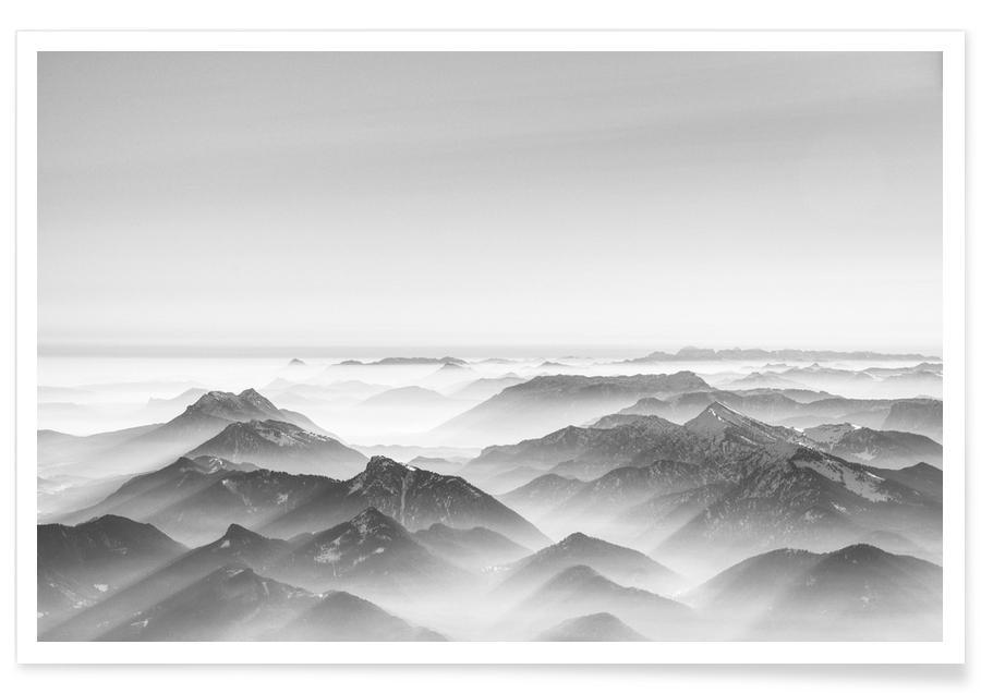 Noir & blanc, Montagnes, Balloon Ride over the Alps 2 affiche