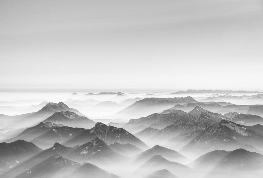 Balloon Ride over the Alps 2 Aluminium Print