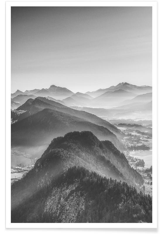 Montagnes, Noir & blanc, Balade en ballon au-dessus des Alpes affiche