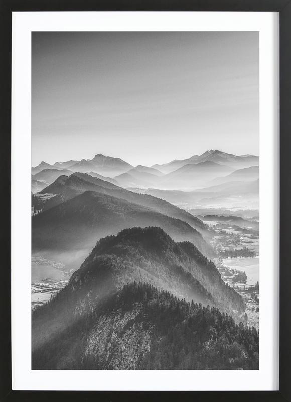 Balloon Ride over the Alps 3 affiche sous cadre en bois