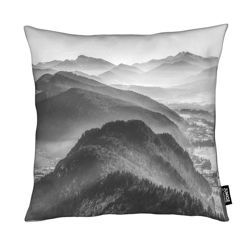 Montagnes, Noir & blanc, Balloon Ride over the Alps 3 coussin