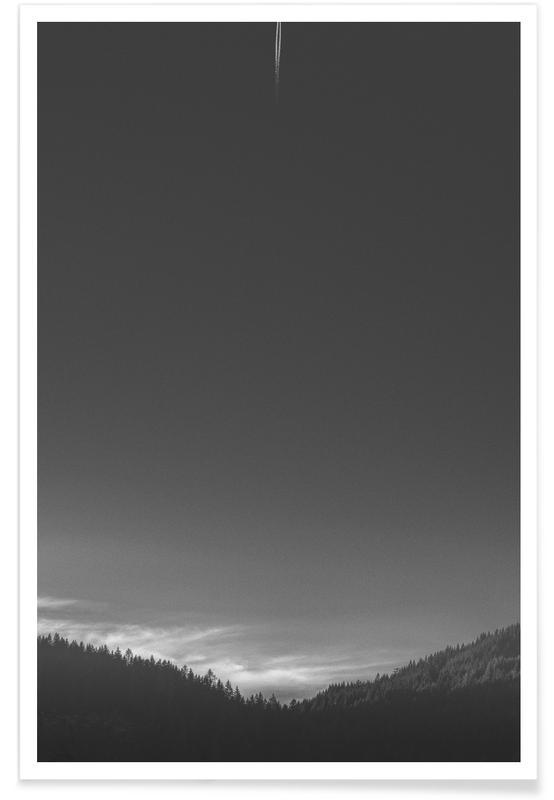 Black & White, Skies & Clouds, Just Missed the Flight Poster