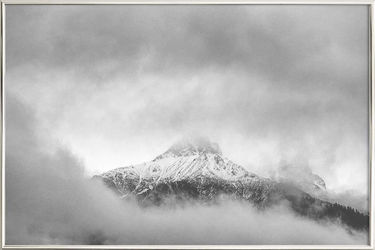 Peak in the Clouds Poster in Aluminium Frame
