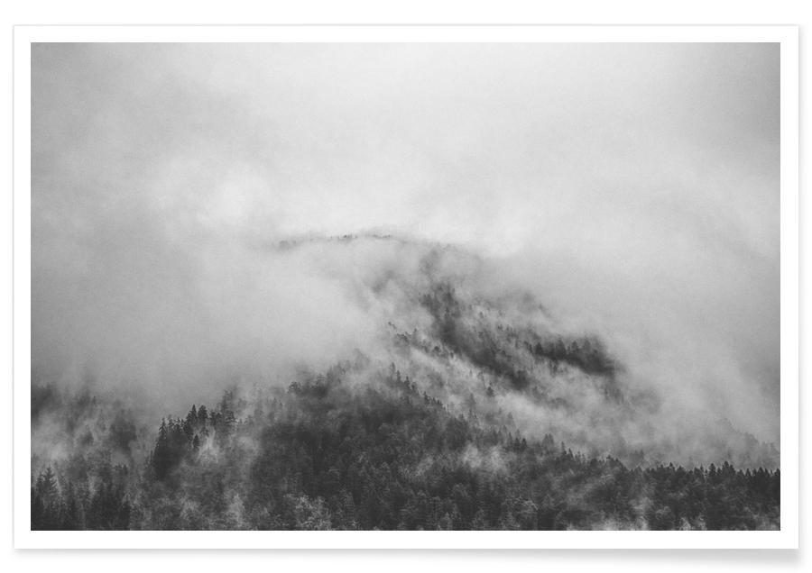 Sort & hvidt, Bjerge, Moody Clouds 1 Plakat