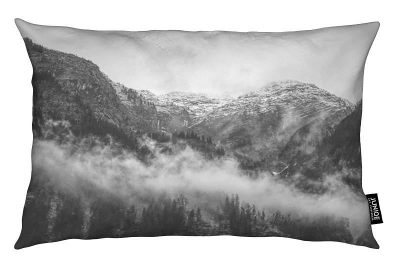 Noir & blanc, Montagnes, Moody Clouds 2 coussin