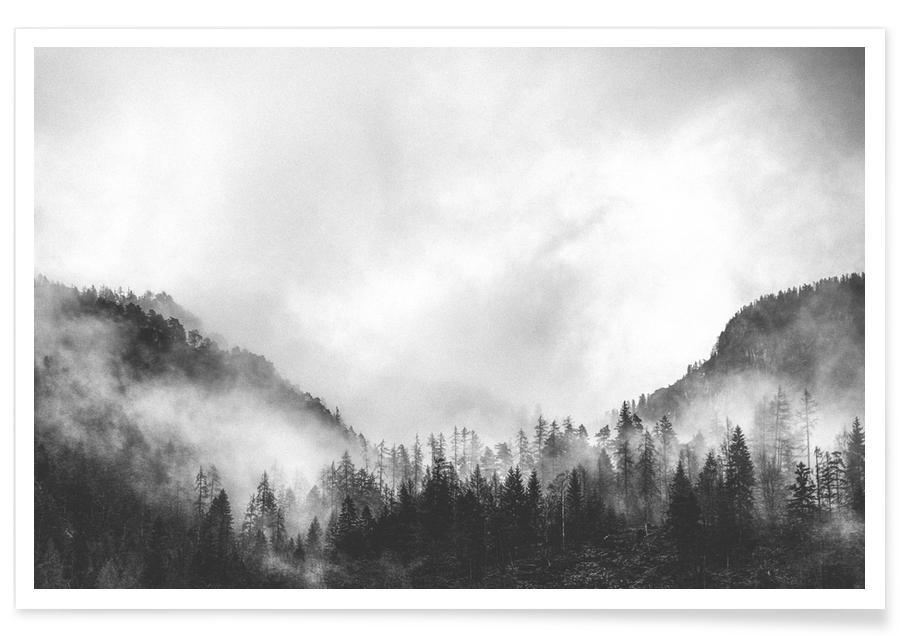 Noir & blanc, Montagnes, Moody Clouds 4 affiche