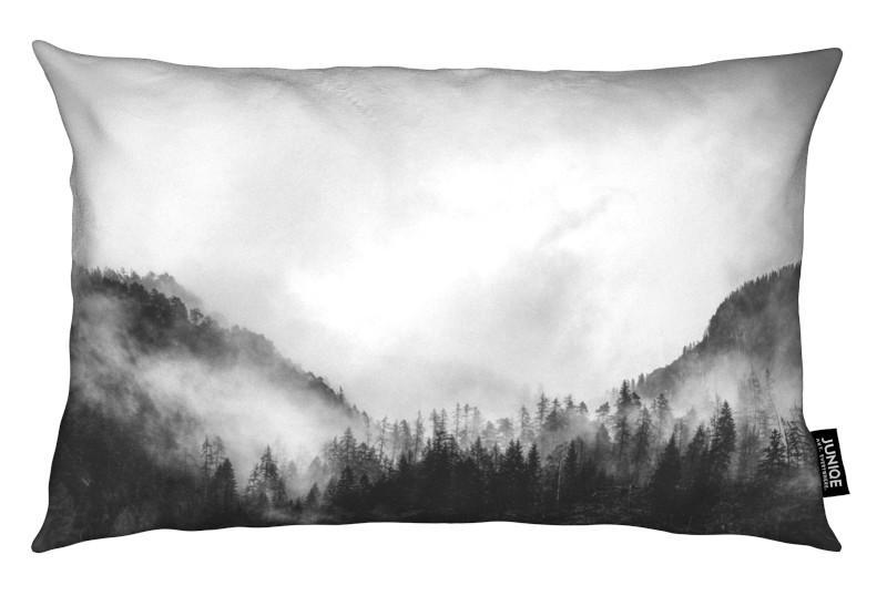 Noir & blanc, Montagnes, Moody Clouds 4 coussin