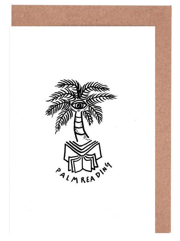 Noir & blanc, Palmiers, Street Art, Palm Reading White cartes de vœux