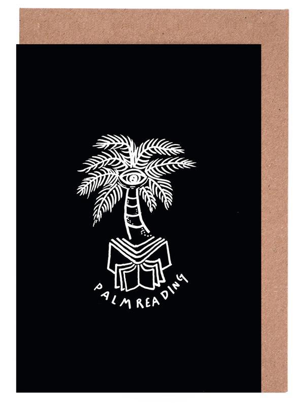 Noir & blanc, Palmiers, Street Art, Palm Reading Black cartes de vœux