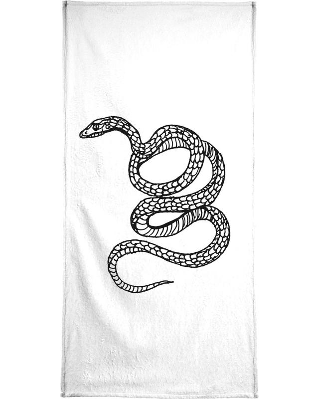 Snake White Bath Towel